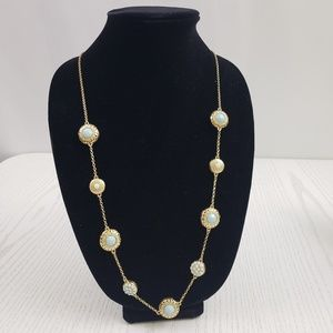 Ann Taylor Gold Tone Mint Green Stationed Necklace